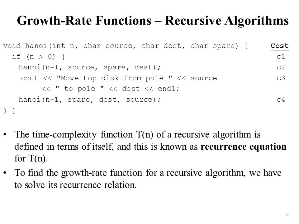 Growth-Rate Functions – Recursive Algorithms