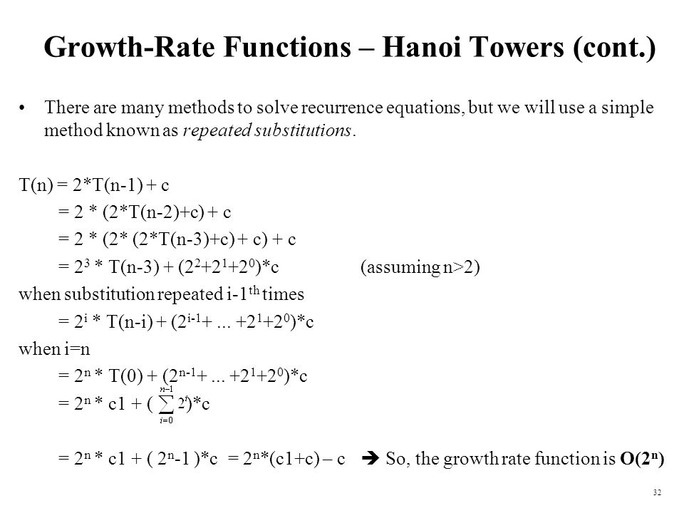 Growth-Rate Functions – Hanoi Towers (cont.)