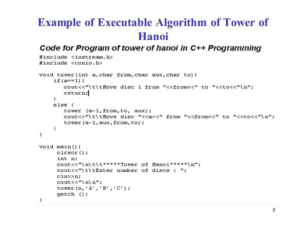 Example of Executable Algorithm of Tower of Hanoi