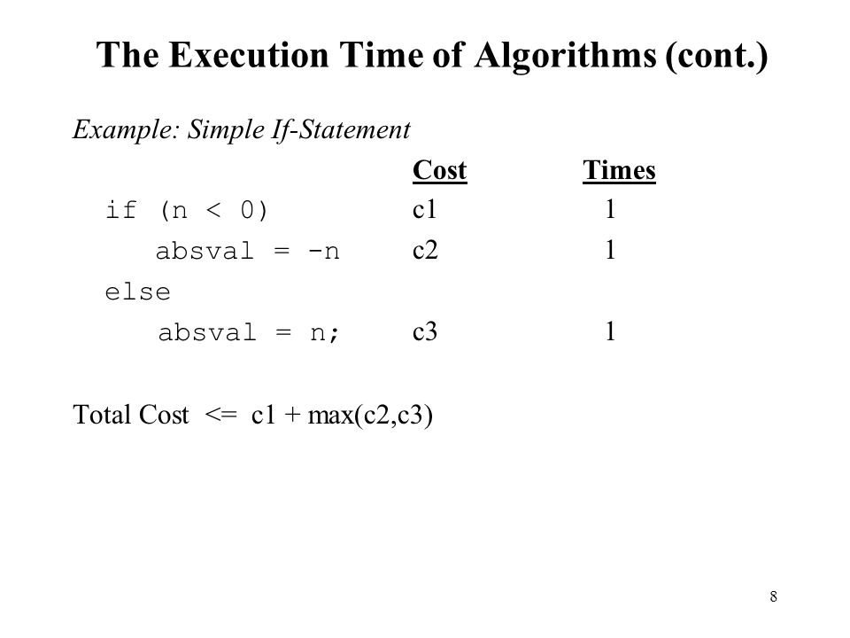 The Execution Time of Algorithms (cont.)