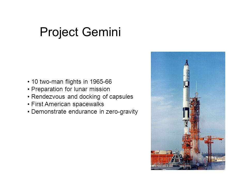 Project Gemini 10 two-man flights in 1965-66