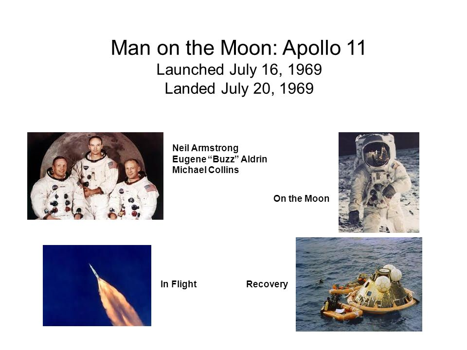 Man on the Moon: Apollo 11 Launched July 16, 1969 Landed July 20, 1969