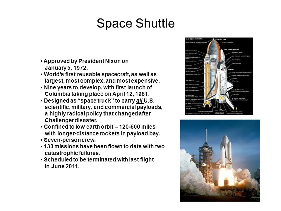 Space Shuttle Approved by President Nixon on January 5, 1972.