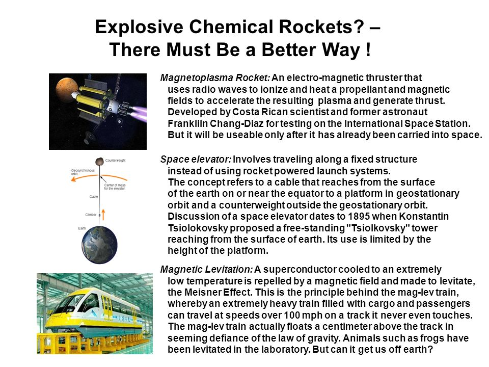 Explosive Chemical Rockets – There Must Be a Better Way !