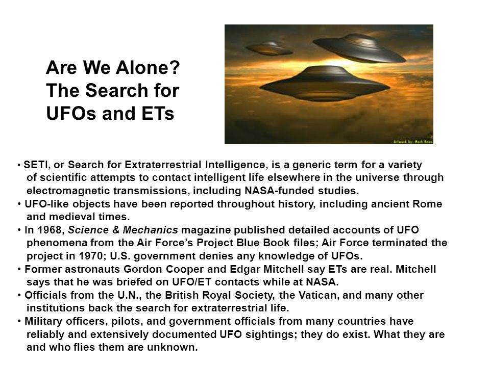 Are We Alone The Search for UFOs and ETs