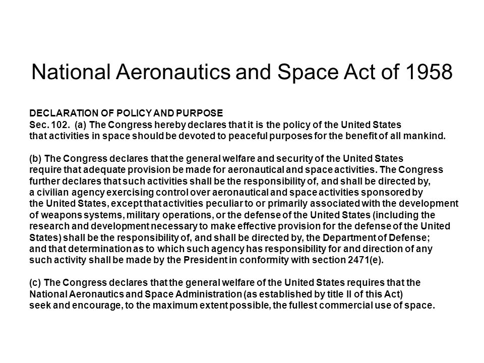 National Aeronautics and Space Act of 1958