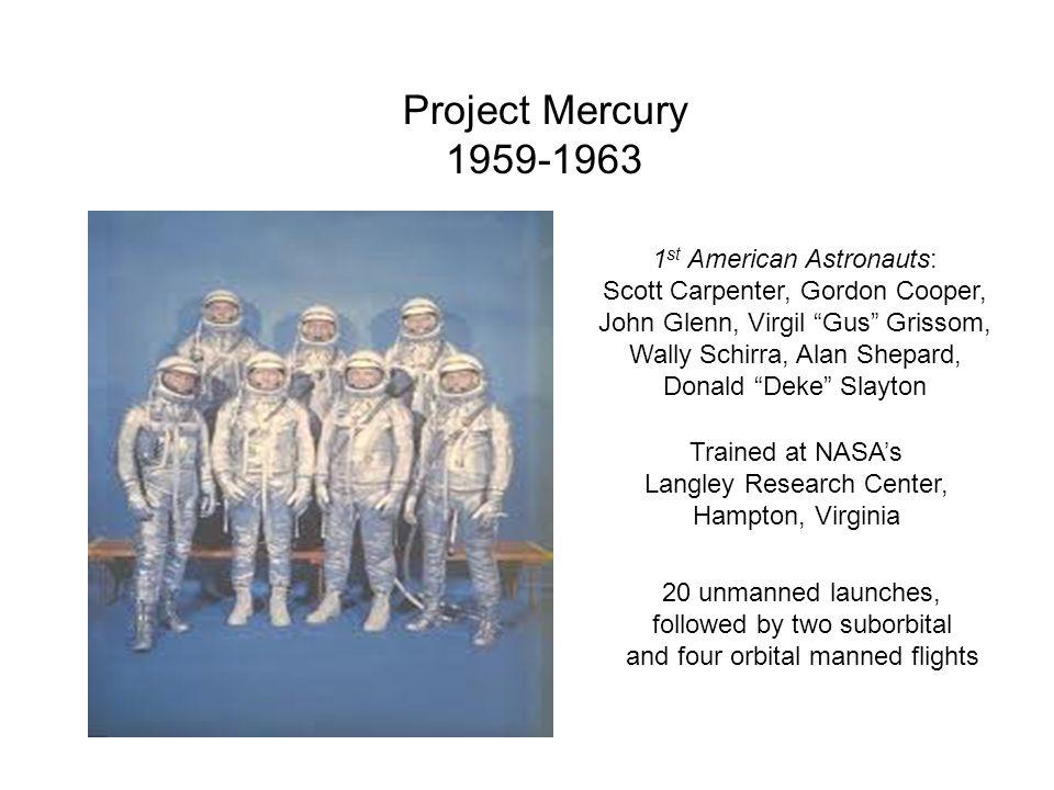Project Mercury 1959-1963 1st American Astronauts: