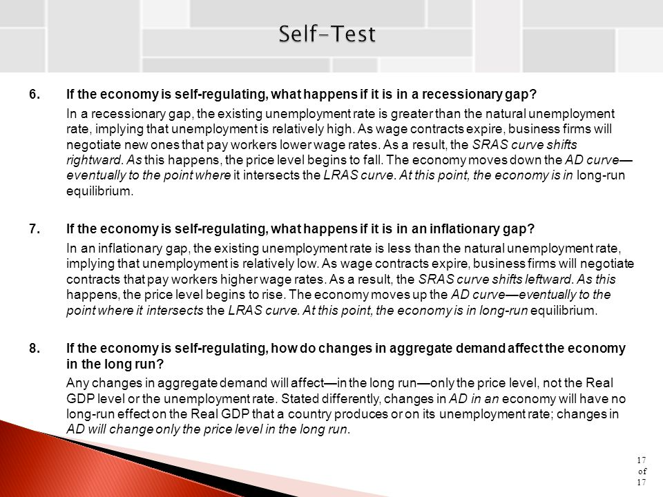 Self-Test 6. If the economy is self-regulating, what happens if it is in a recessionary gap