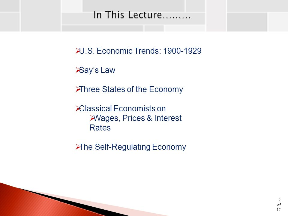 In This Lecture……… U.S. Economic Trends: 1900-1929 Say's Law