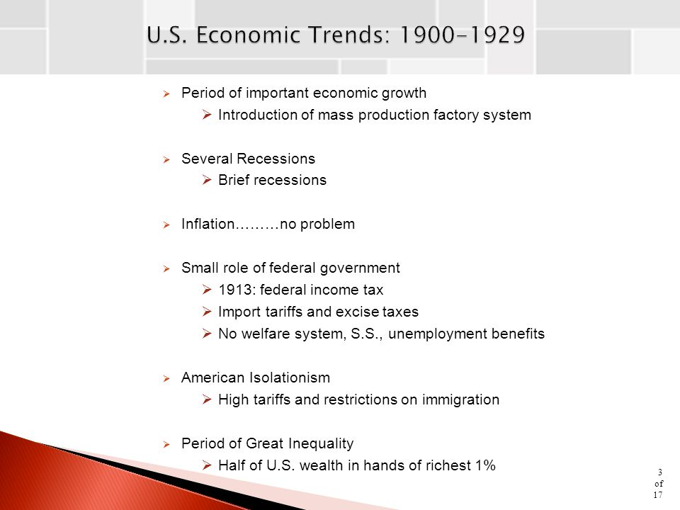 U.S. Economic Trends: 1900-1929 Period of important economic growth