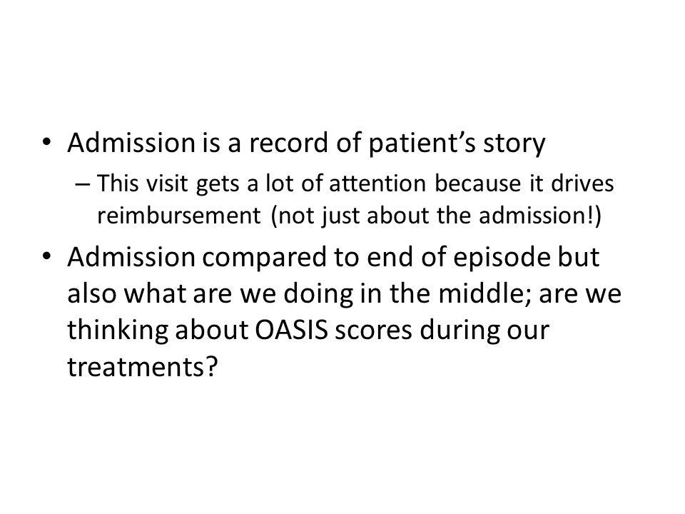 Admission is a record of patient's story