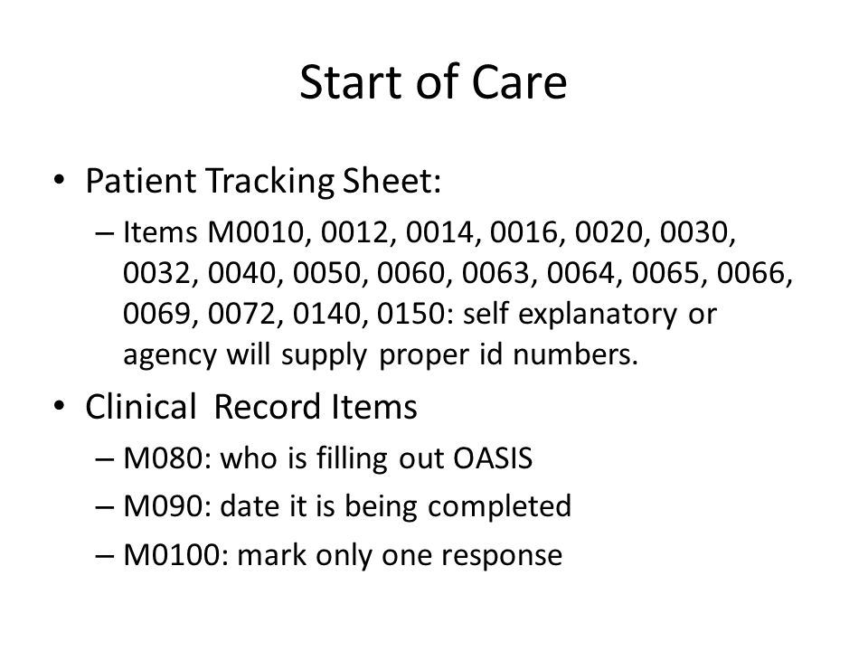 Start of Care Patient Tracking Sheet: Clinical Record Items