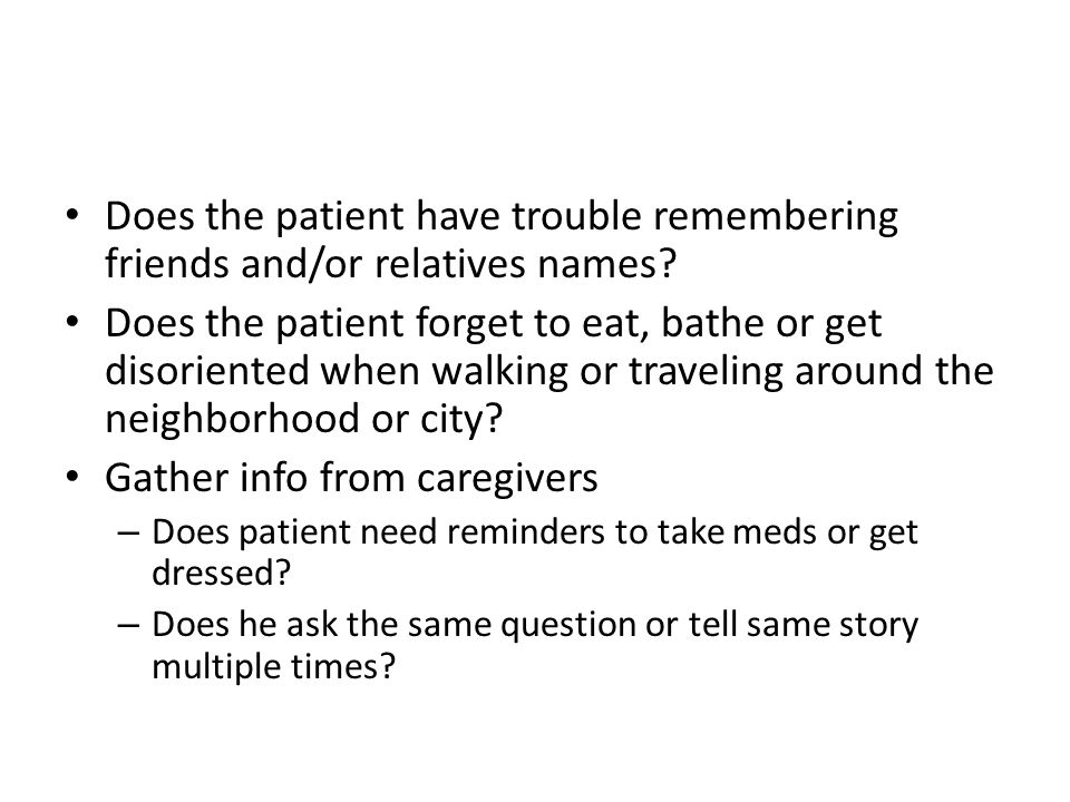 Gather info from caregivers