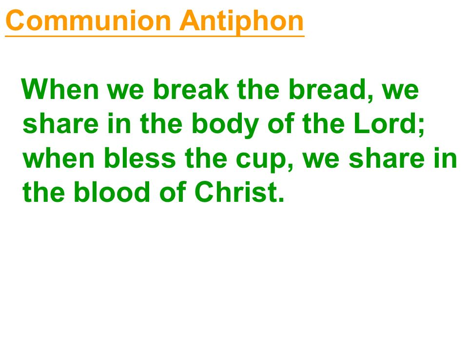 Communion Antiphon When we break the bread, we share in the body of the Lord; when bless the cup, we share in the blood of Christ.