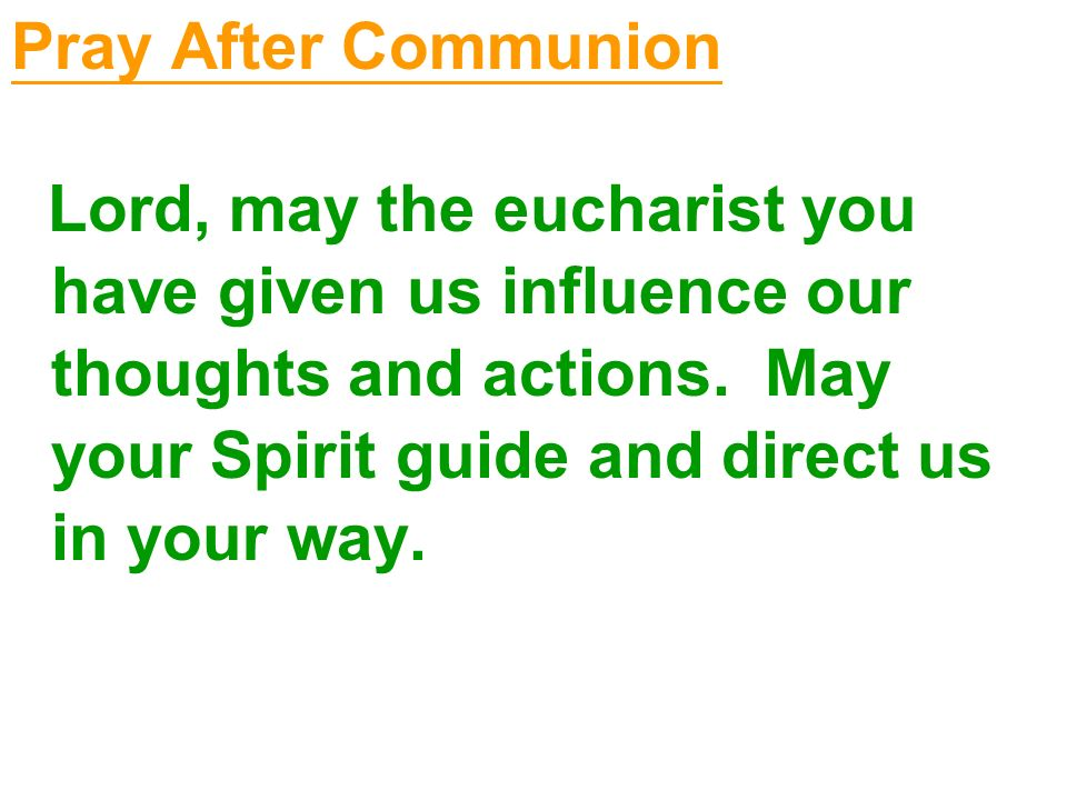 Pray After Communion Lord, may the eucharist you have given us influence our thoughts and actions.