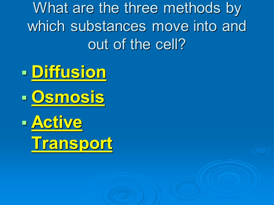 Diffusion Osmosis Active Transport