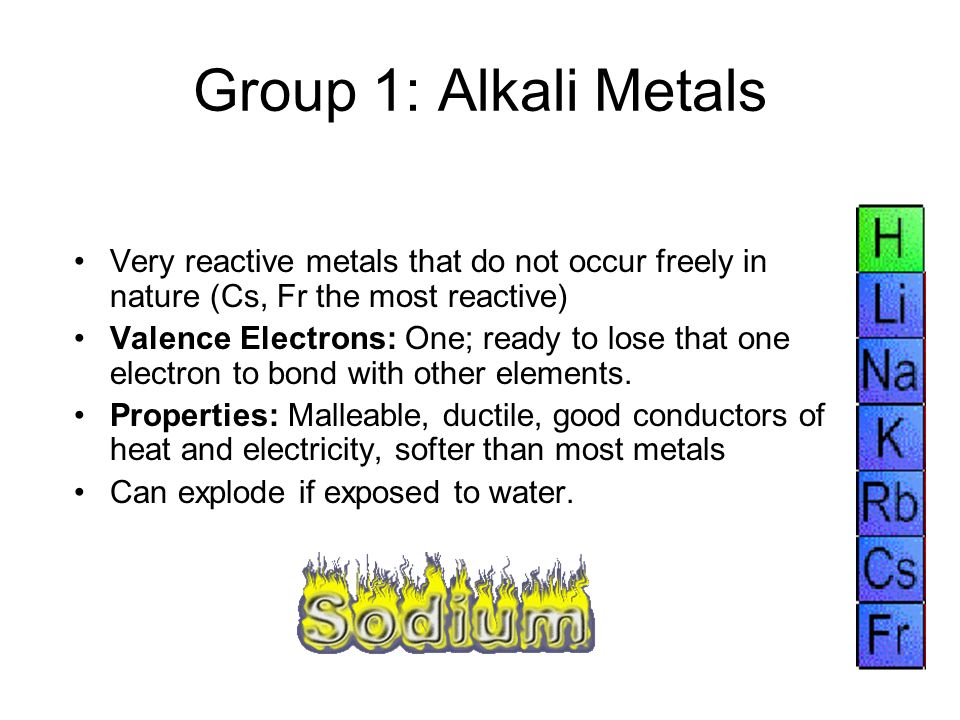 Group 1: Alkali Metals Very reactive metals that do not occur freely in nature (Cs, Fr the most reactive)