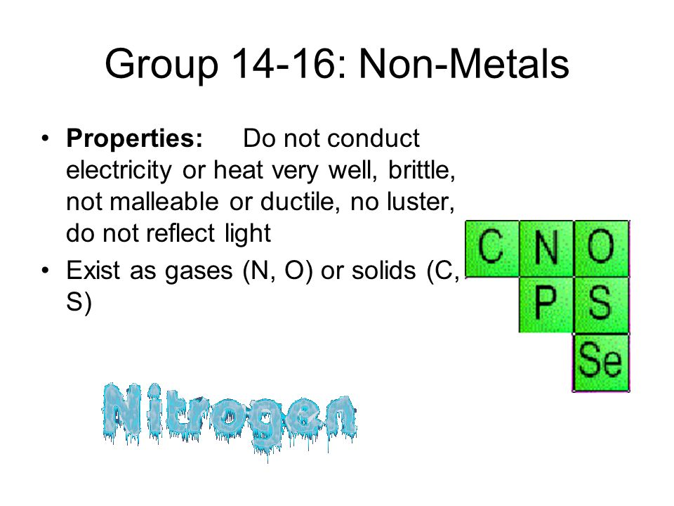 Group 14-16: Non-Metals Properties: Do not conduct electricity or heat very well, brittle, not malleable or ductile, no luster, do not reflect light.