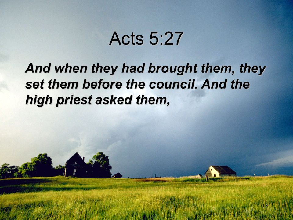 Acts 5:27 And when they had brought them, they set them before the council.