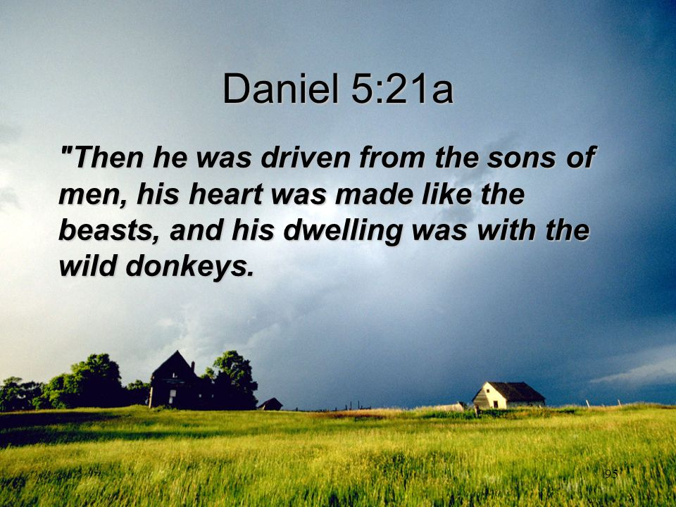 Daniel 5:21a Then he was driven from the sons of men, his heart was made like the beasts, and his dwelling was with the wild donkeys.