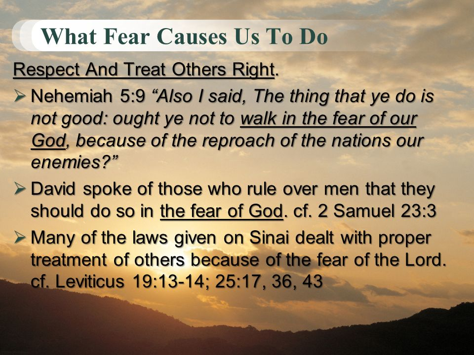 What Fear Causes Us To Do