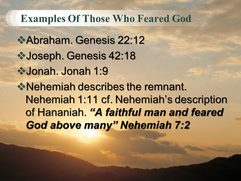 Examples Of Those Who Feared God