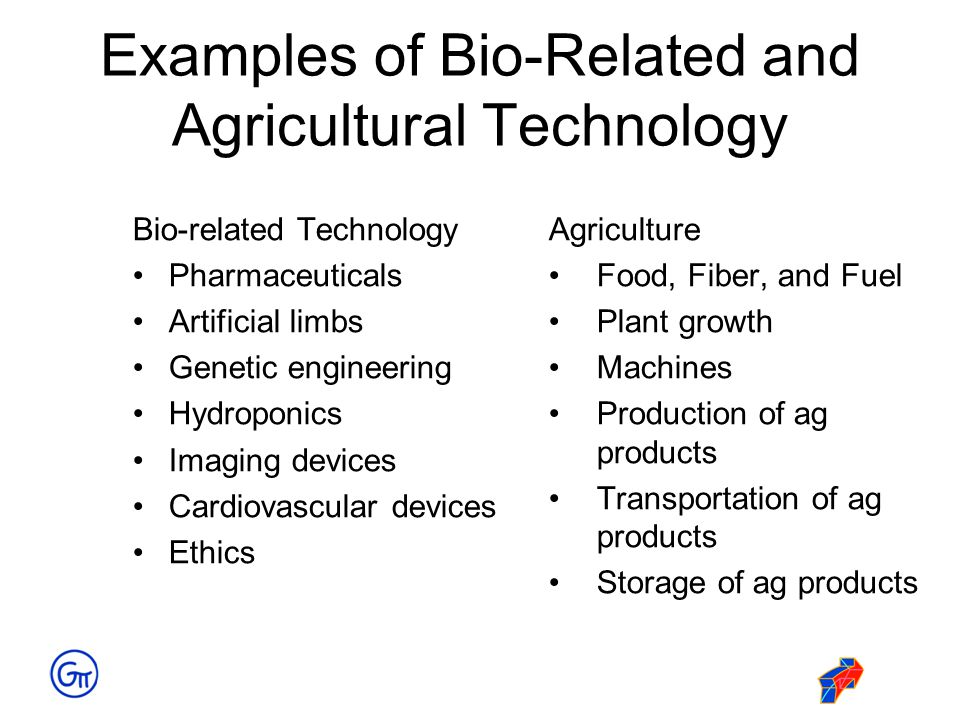 Examples of Bio-Related and Agricultural Technology