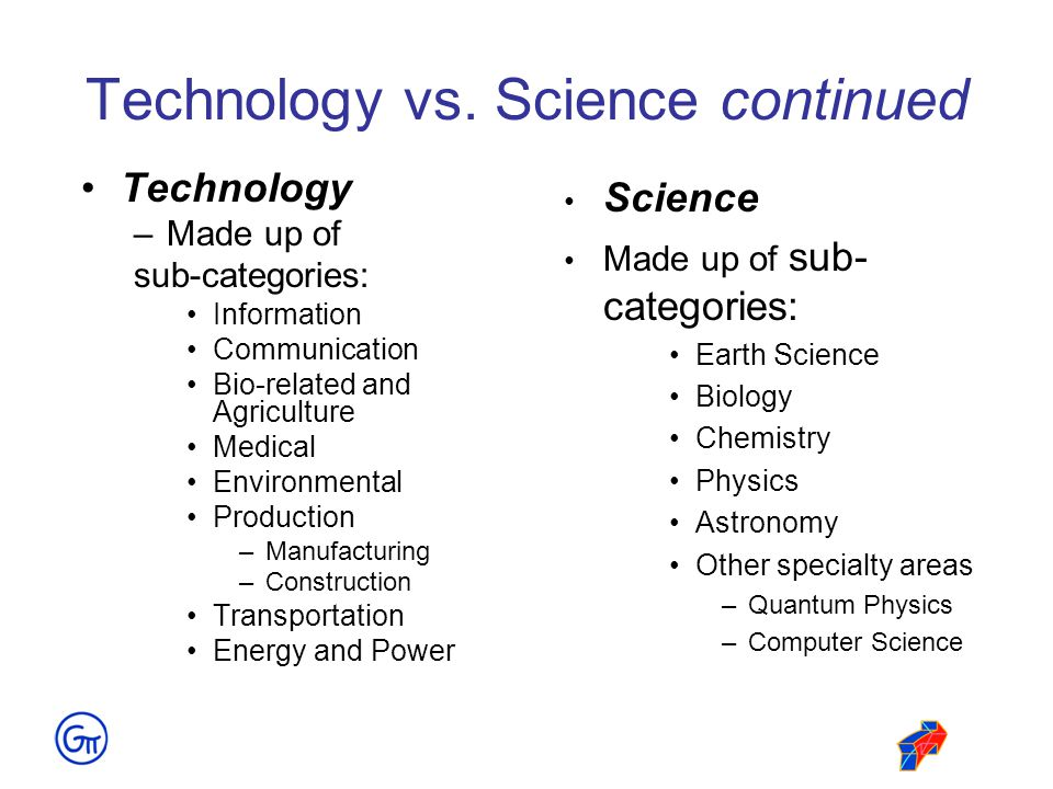 Technology vs. Science continued