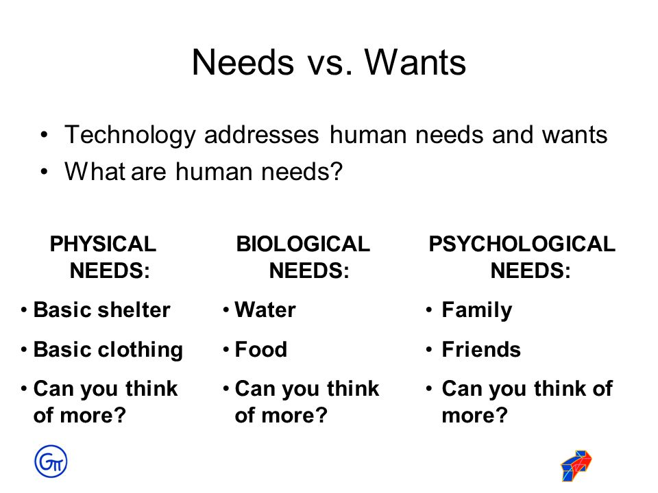Needs vs. Wants Technology addresses human needs and wants