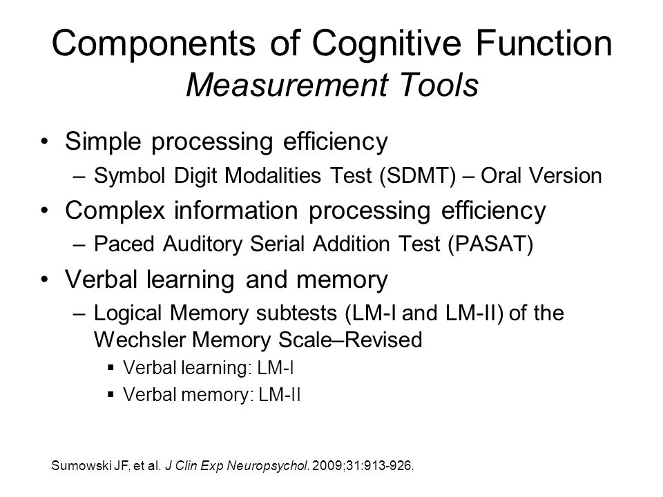 Components of Cognitive Function Measurement Tools