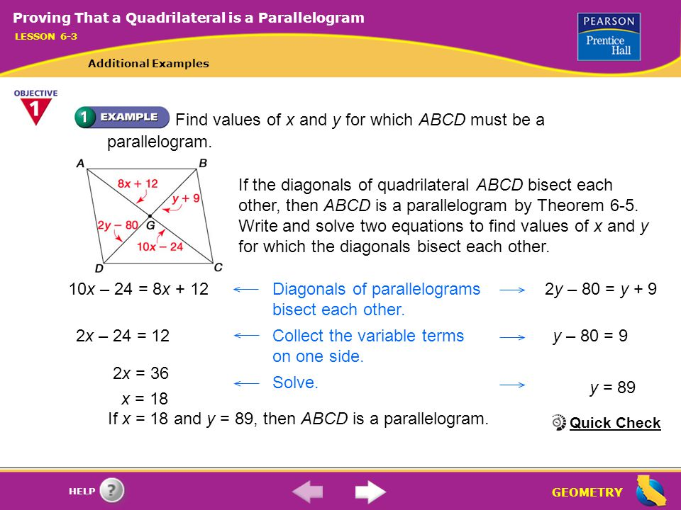 If x = 18 and y = 89, then ABCD is a parallelogram.
