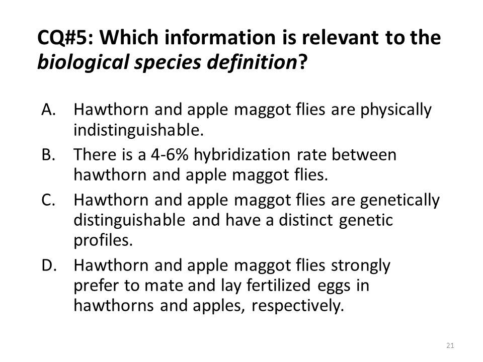 CQ#5: Which information is relevant to the biological species definition
