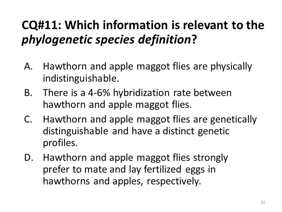 CQ#11: Which information is relevant to the phylogenetic species definition