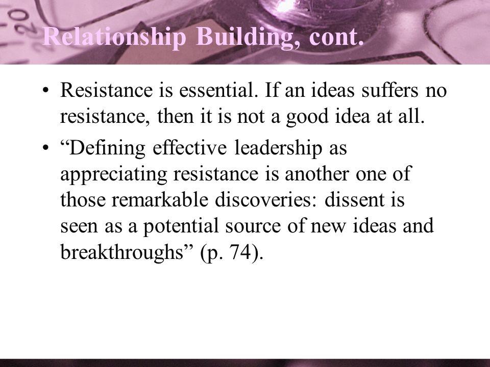 Relationship Building, cont.