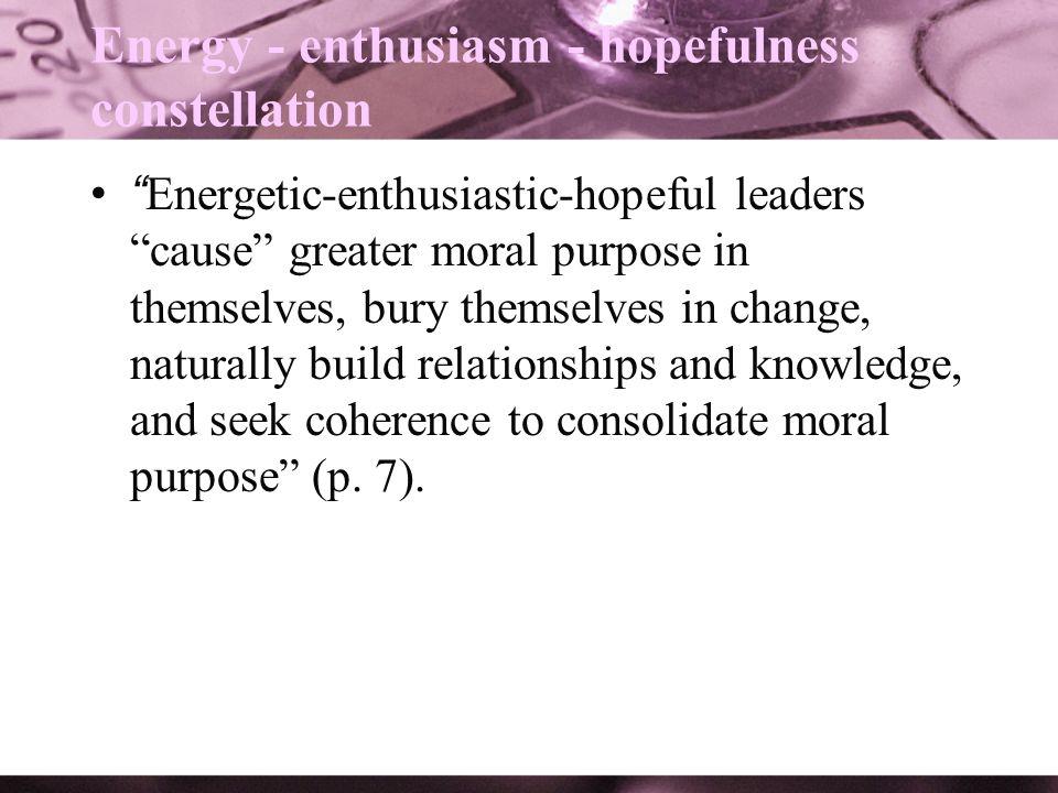 Energy - enthusiasm - hopefulness constellation