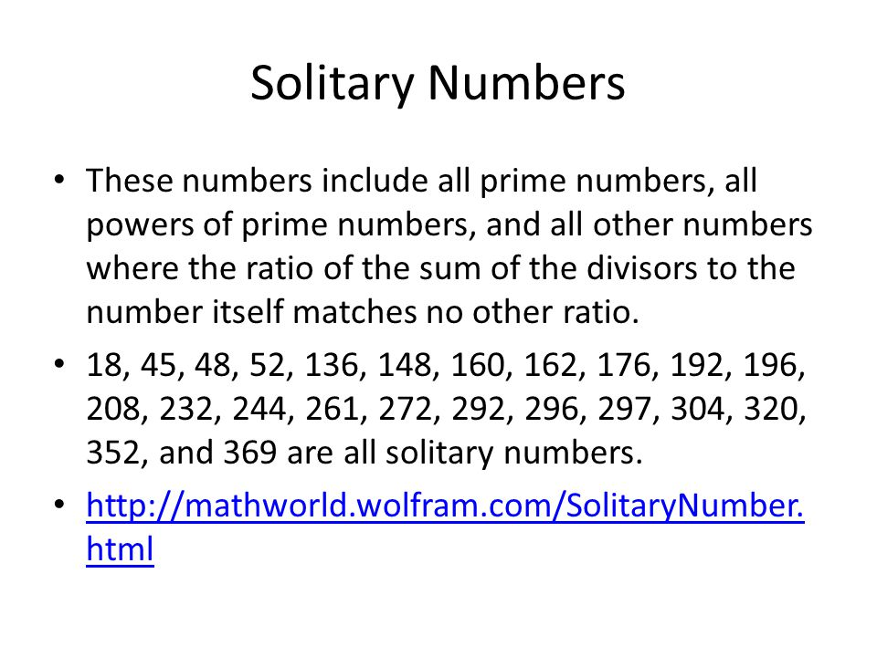 Solitary Numbers