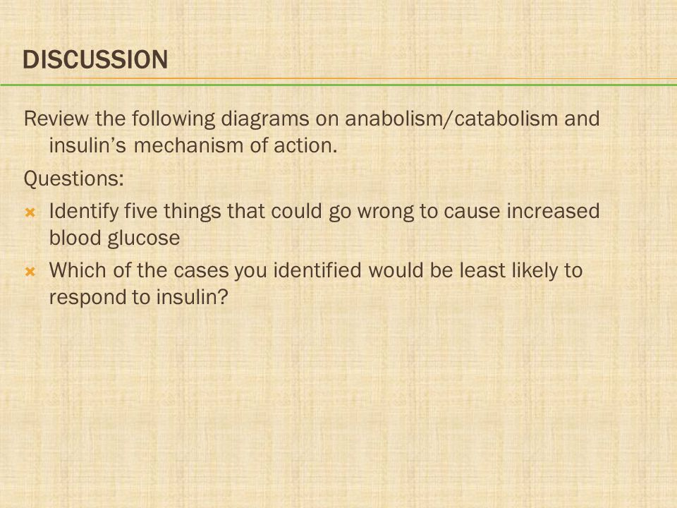 Discussion Review the following diagrams on anabolism/catabolism and insulin's mechanism of action.
