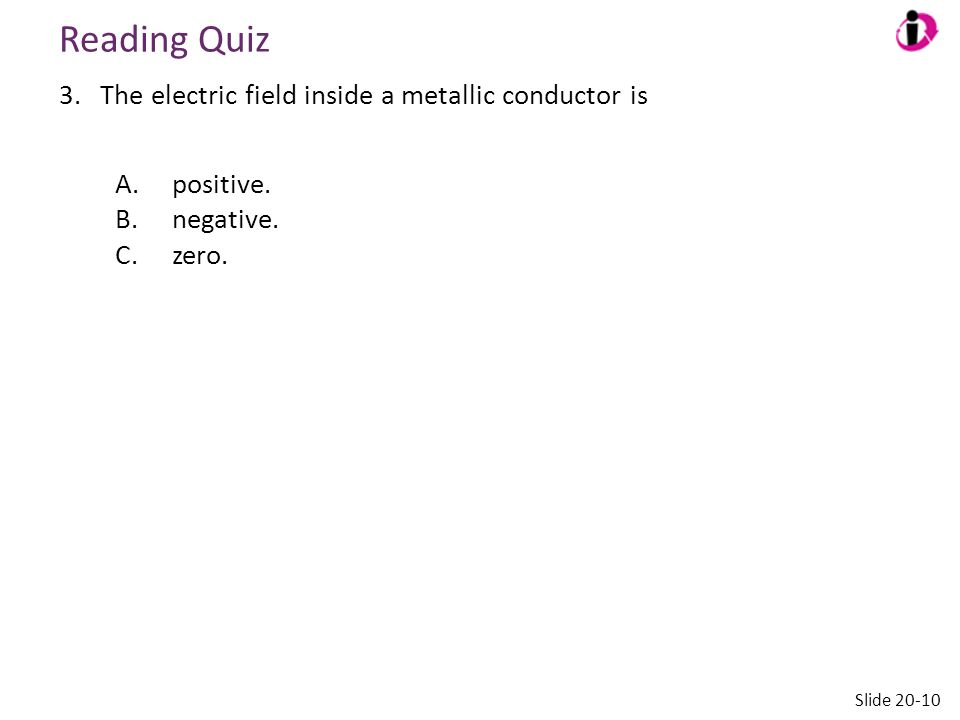Reading Quiz The electric field inside a metallic conductor is
