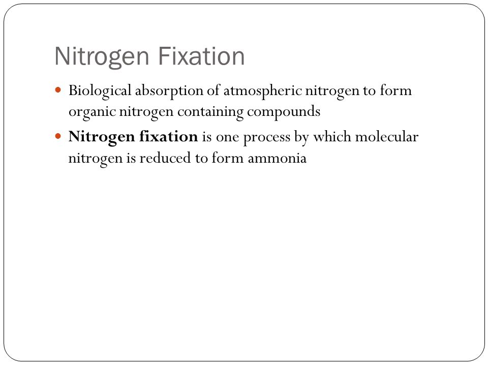Nitrogen Fixation Biological absorption of atmospheric nitrogen to form organic nitrogen containing compounds.