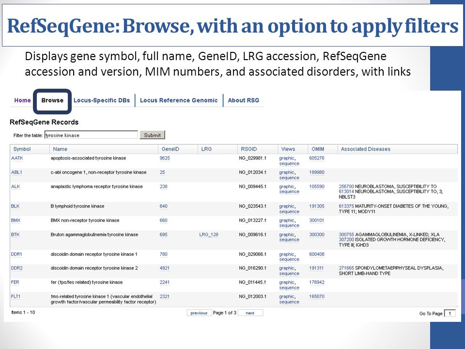 RefSeqGene: Browse, with an option to apply filters
