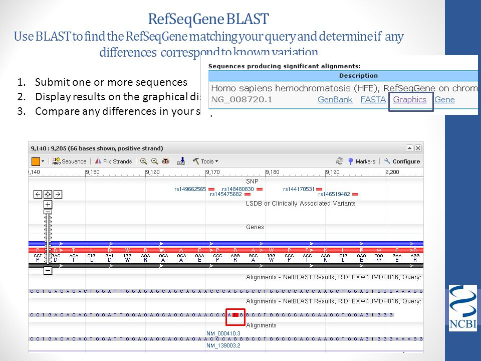 RefSeqGene BLAST Use BLAST to find the RefSeqGene matching your query and determine if any differences correspond to known variation
