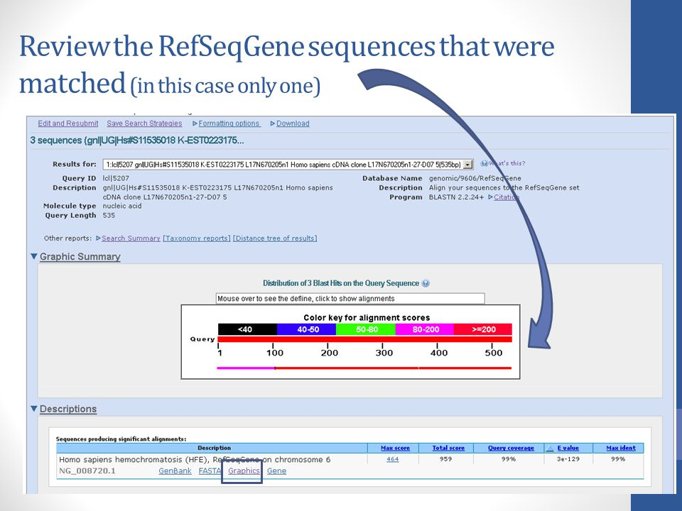 Review the RefSeqGene sequences that were matched (in this case only one)