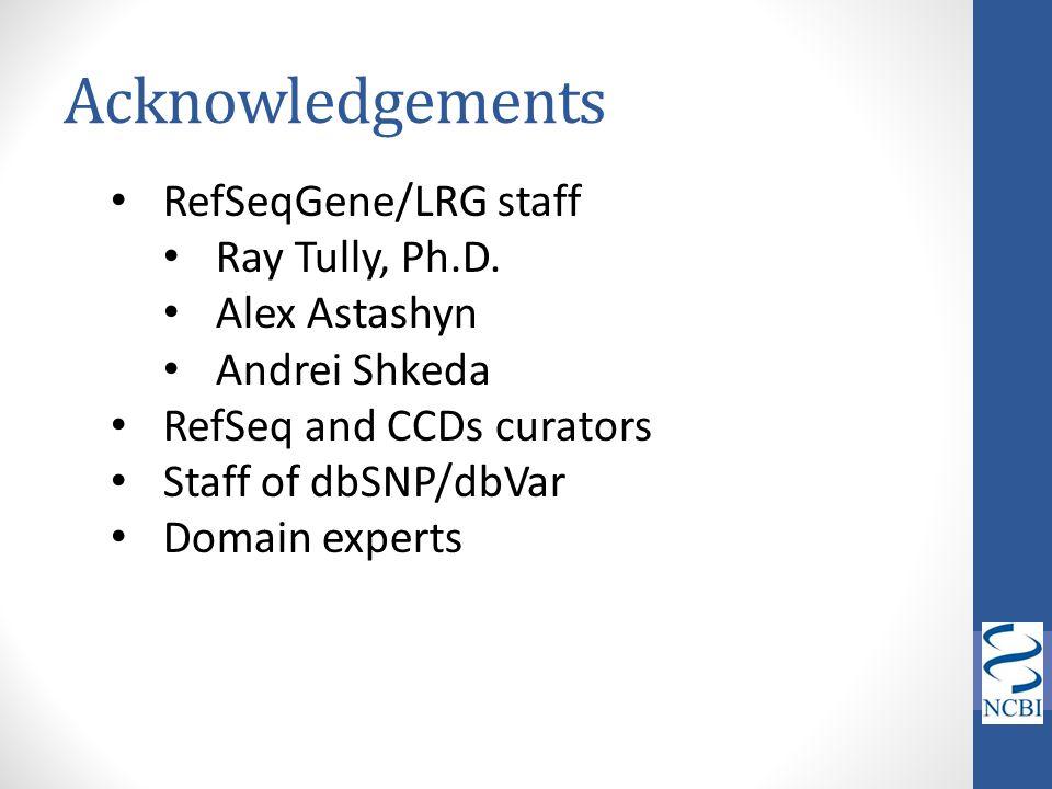 Acknowledgements RefSeqGene/LRG staff Ray Tully, Ph.D. Alex Astashyn