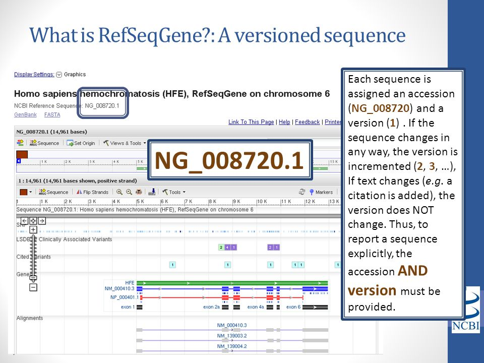 What is RefSeqGene : A versioned sequence