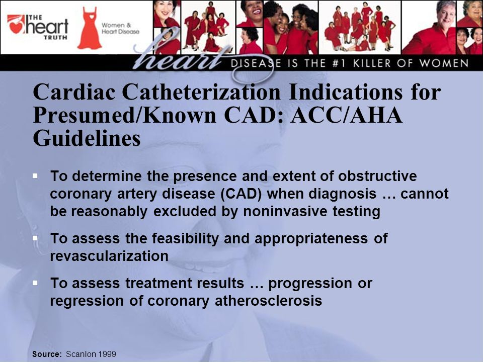 Cardiac Catheterization Indications for Presumed/Known CAD: ACC/AHA Guidelines