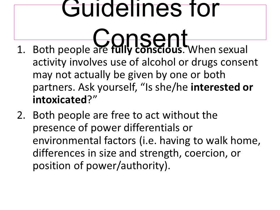 Guidelines for Consent