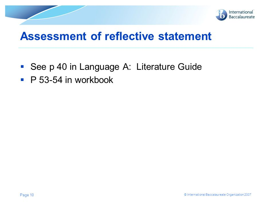 Assessment of reflective statement