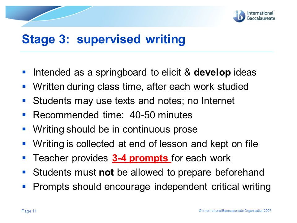 Stage 3: supervised writing