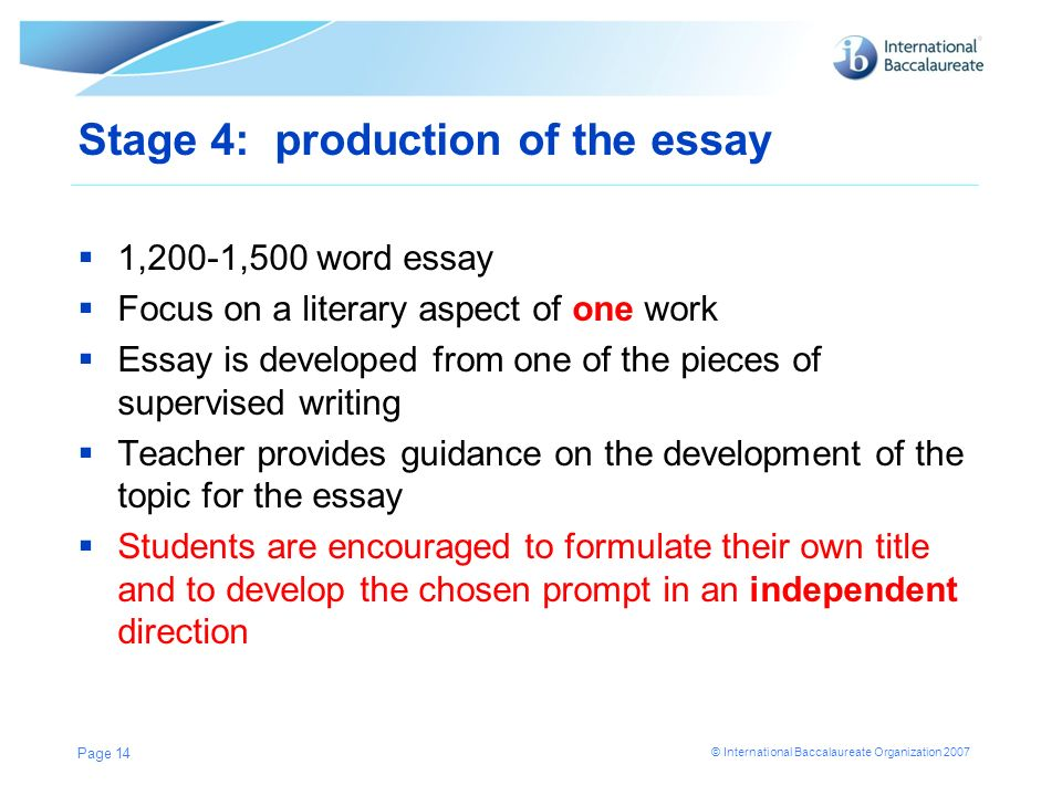 Stage 4: production of the essay