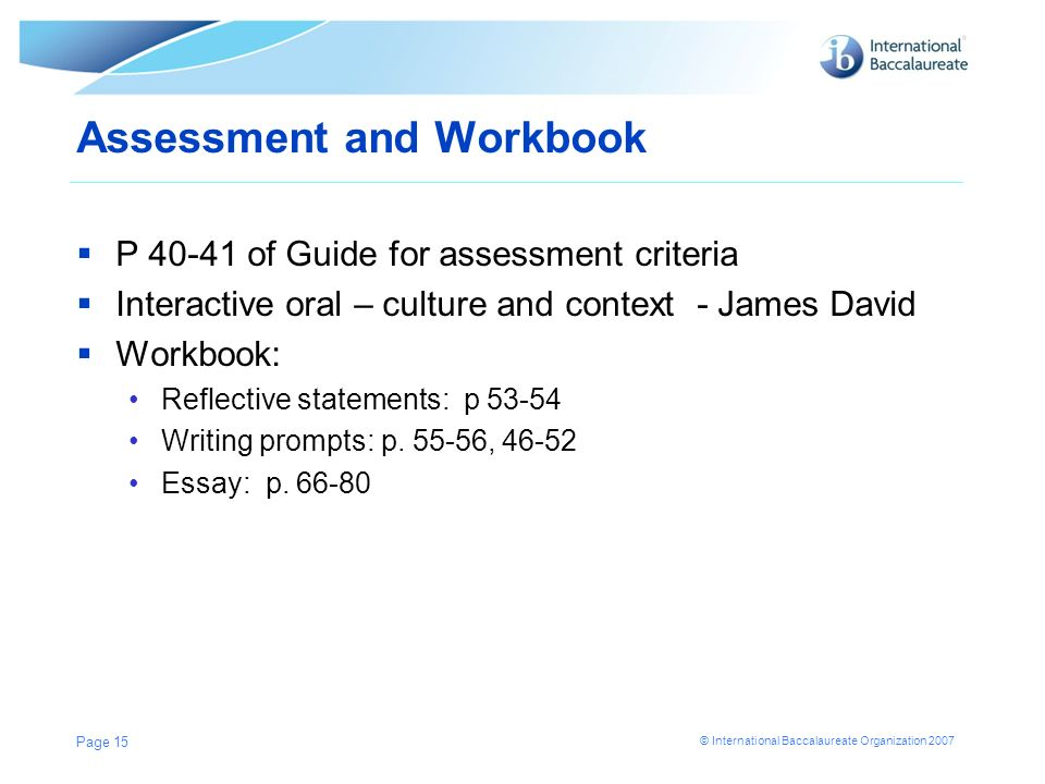 Assessment and Workbook